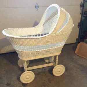 Huge Antique White Wicker Baby Bassinet crib rocker London Ontario image 1