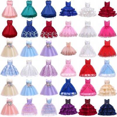 Flower Girl Princess Dress Baby Kid Party Wedding Bridesmaid Xmas Tutu Dresses - Kid Christmas Dresses