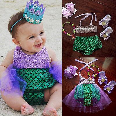 US Baby Girls Kids Mermaid Bikini Swimwear Swimsuit Bathing Beachwear Costume (Mermaid Baby Costume)