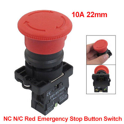 New 250v 10a 22mm Red Mushroom Nc Emergency Stop Push-button Lock Button Switch
