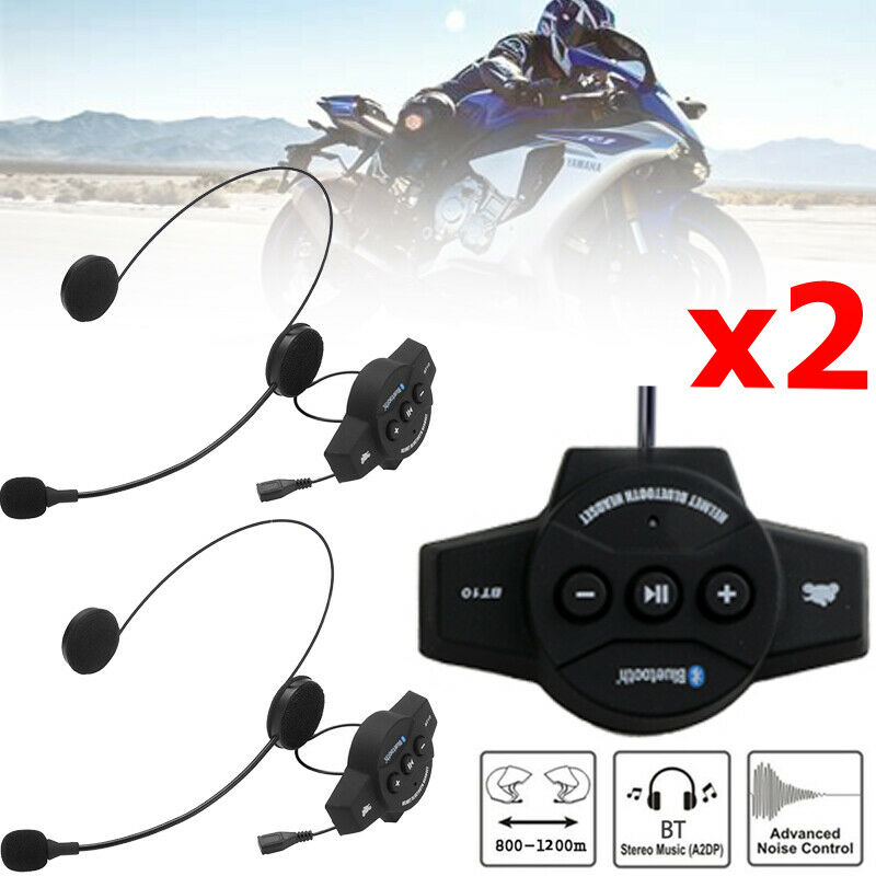 2x BT Bluetooth Motorcycle Helmet Interphone Intercom Headset 6 Riders 1200M
