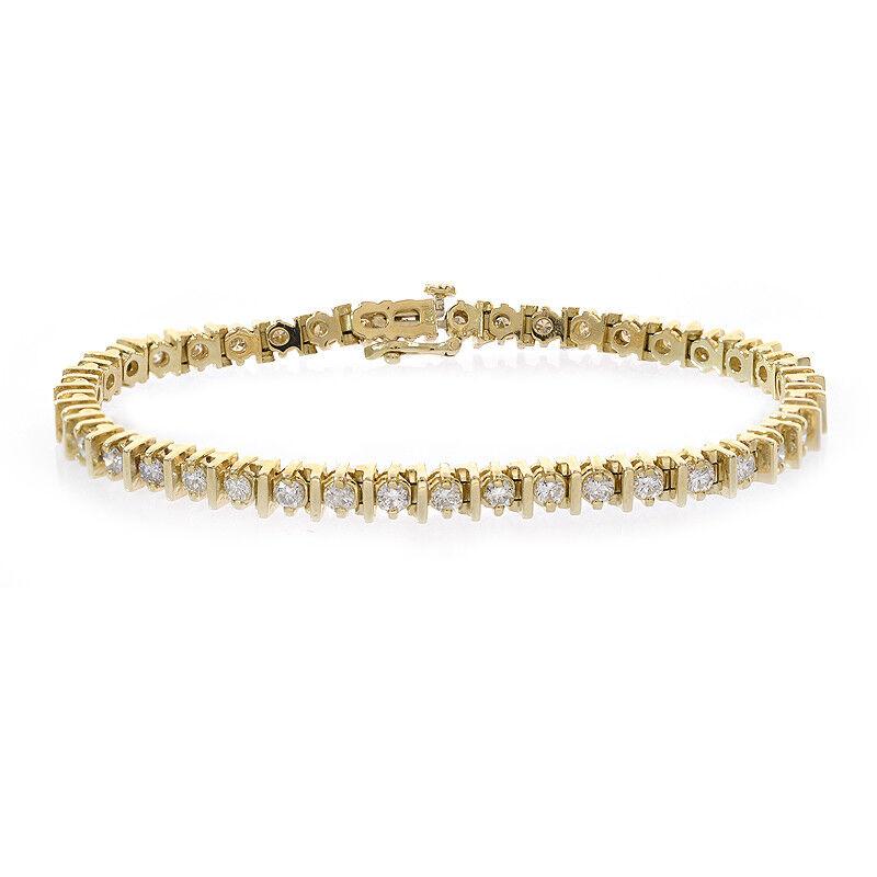 3.50 Carat Round Cut Diamond Bar Link Tennis Bracelet 14K Yellow Gold