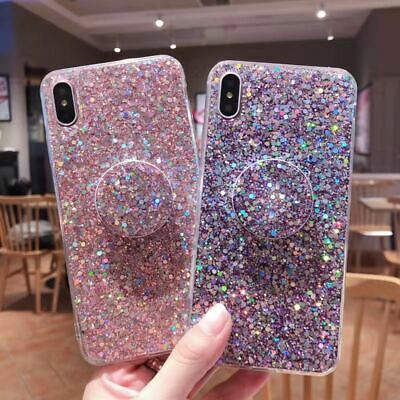 UK Glitter Case With Pop Up Socket Relief TPU Cover For Samsung S7 S10 S8 J6 A70