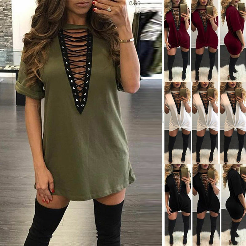 ea10f9785cc You may also like. Women Choker V Neck Casual Loose Tops T-Shirt Lace-up  Plunge Mini Dress ...