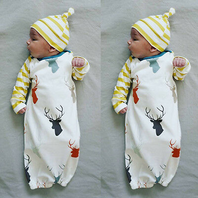 US Newborn Infant Baby Boys Sleeping Swaddle Bag+Hat Set Romper Bodysuit - Baby Boys Sleeping Bags