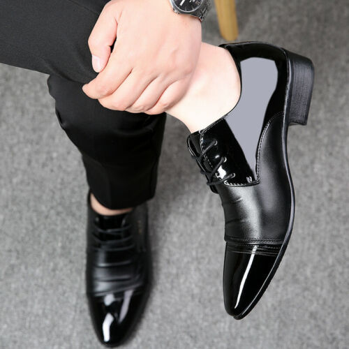 Details about  /Mens Formal Dress Business Leather Shoes Pointy Toe Low Heel Lace Up Party