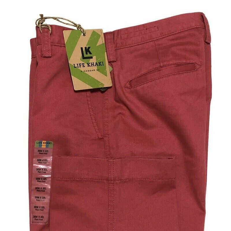 Haggar Life Khaki Pants 30 x 32 Berry Relaxed Fit Straight L