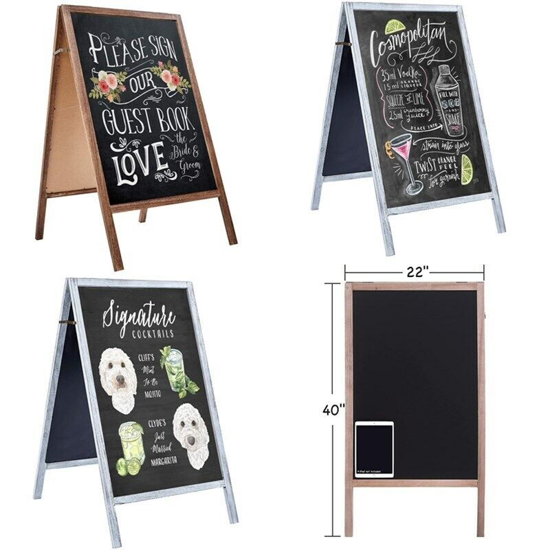 """40"""" x22"""" Double Sided Wooden A-Frame Sidewalk Chalkboard Easel Sign Display Gift"""