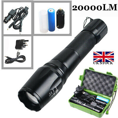 20000LM 5 Modes LED Flashlight T6 Military Torch Light+18650 Battery Indoor UK