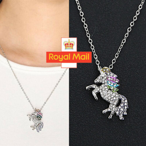 Jewellery - Unicorn Pendant Necklace Chain Flying Horse Kids Girls Jewellery Party Gifts W