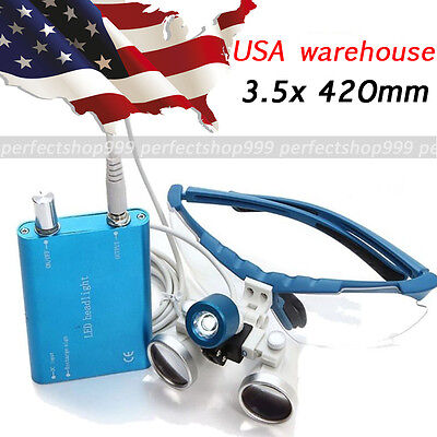 Us Blue Dental Loupes 3.5x Surgical Medical Binocular Led Head Light Lamp A