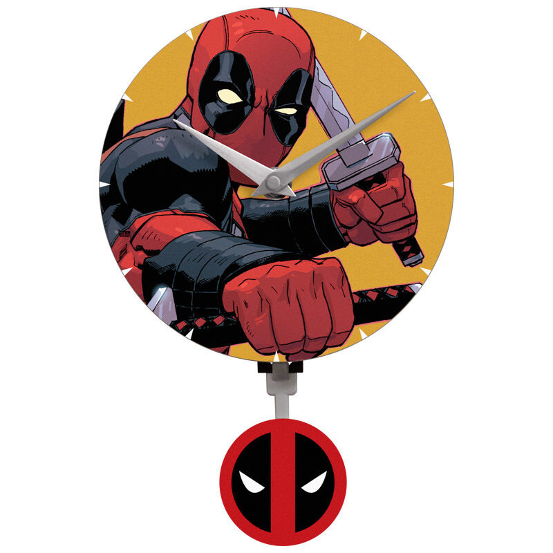 marvel comics deadpool pendulum wall clock