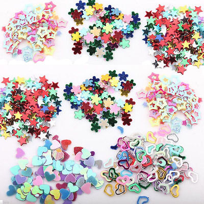 5000Pcs Mixed Glitter Confetti Nail Art Flower Stickers Heart Star Decals Decor - Heart Glitter