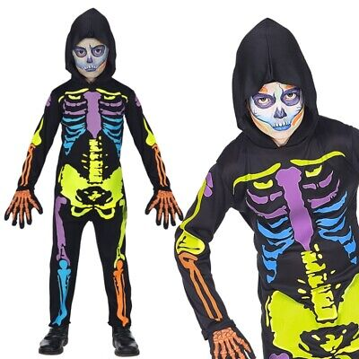 BUNTES SKELETT Kinder Kostüm Monster Geist & Horror Jungen Halloween  #7027