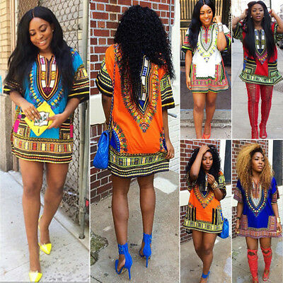 African Women Kaftan Dashiki Boho Hippie Short Dress Maxi Gown Caftan Plus Size