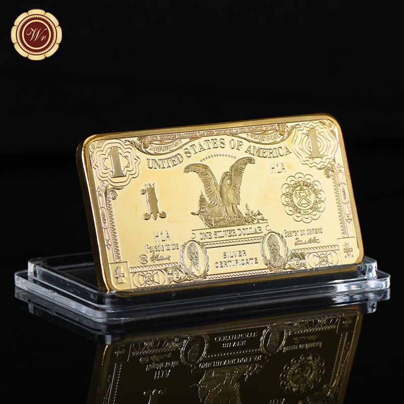 WR 1899 US Black Eagle $1 Silver Certificate Dollar Ingot 24K Gold Collector Bar