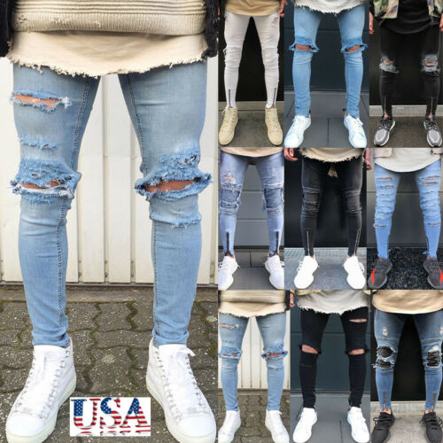 US Men's Stretchy Ripped Skinny Biker Jeans Destroyed Taped
