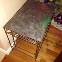 Set of 3 metal Nesting tables - silver finish