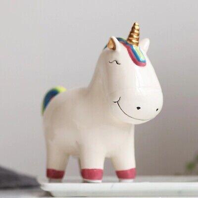 Niños Hucha Lindo Unicornio Dinero Caja Decoración Hogar Cerámica Figuras Moneda