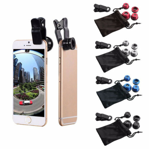 5in1 Wide Angle+Fish Eye+Macro+CPL Clip On Camera Lens Kit For Universal Phones