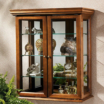 Wall Mounted Curio Cabinet Glass Shelf Mirror Collectible Display Free Standing, used for sale  Green Bay
