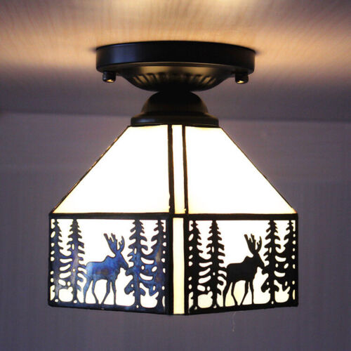 Elk Pattern Tiffany Ceiling Light Stained Glass Kitchen Semi