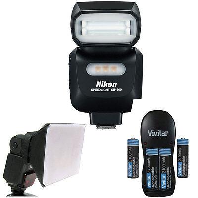 Nikon SB-500 AF Speedlight Flash 4814 For Nikon DSLR Camera + Diffuser + Battery