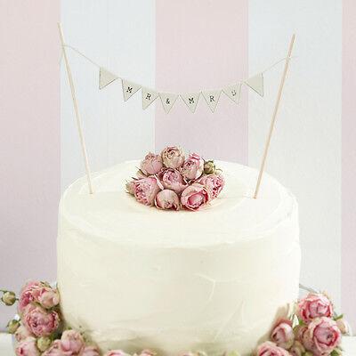 VINTAGE STYLE CAKE BUNTING MR & MRS, RUSTIC IVORY WEDDING CAKE DECORATION