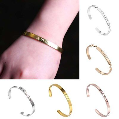 Personalized Stainless Steel Engraved Custom Bracelet Bangle Cuff Family Jewelry (Engraved Cuff)
