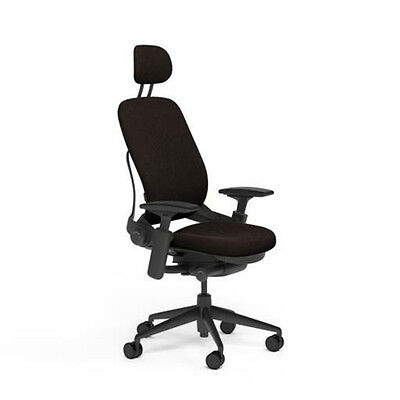 Steelcase Adjustable Leap Desk Chair Headrest Chocolate Buzz2 Fabric Black Frame