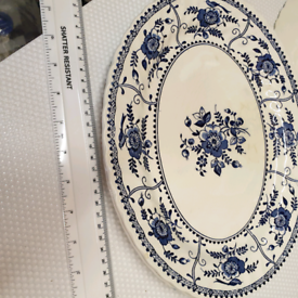 3 Johnson brothers indies blue plates