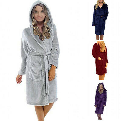 Womens Robe Ladies Bath Robe -Shawl Collar - Super Soft -Coral Fleece Sleep Robe