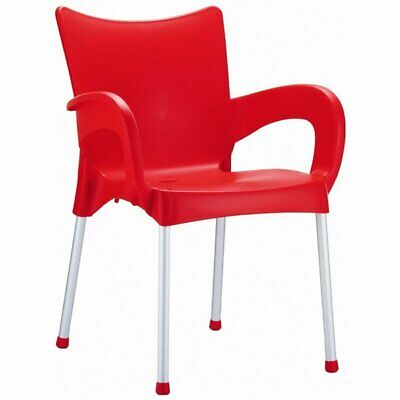 Compamia Romeo Resin Patio Dining Arm Chair in Red ()