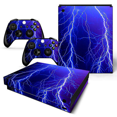 Xbox One X Skin Console & 2 Controllers Thunder Lightning Decal Vinyl Wrap for sale  Shipping to India