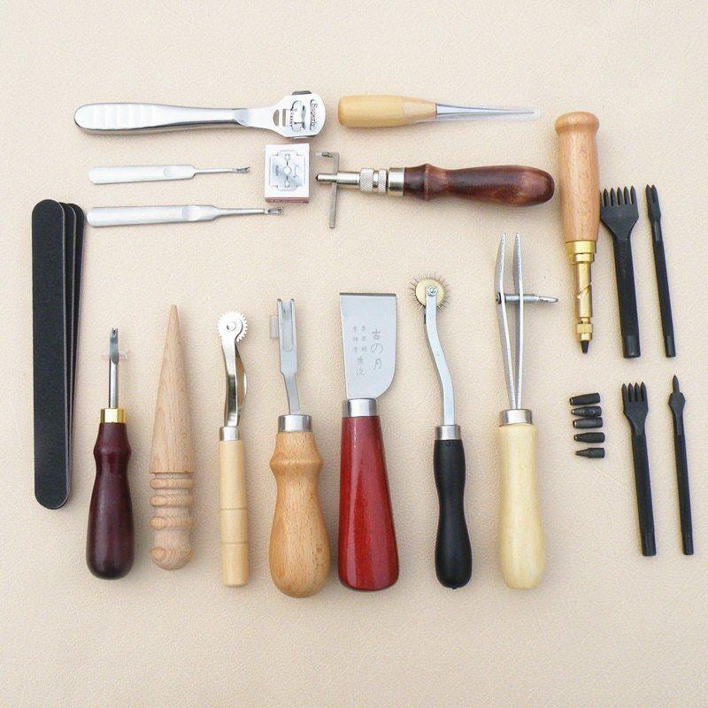 18Pcs leather craft punching tool kit SET stitching engraving work sewing saddle