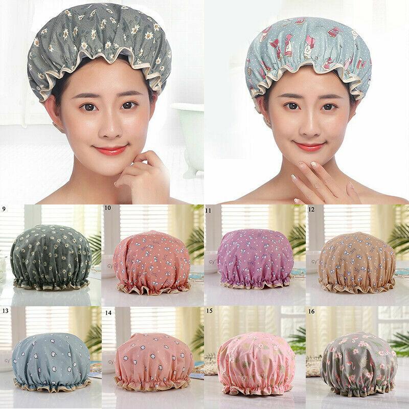 Women Waterproof Shower Caps Reusable Double Layer Cute Elastic Bathing Hats