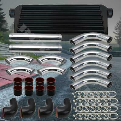 Universal Red 3.0 Inch Black Aluminum Intercooler DIY Piping Kit w// 2x U Pipes