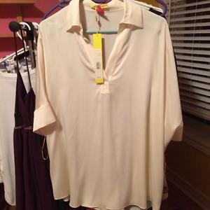 Brand new Catherine Malandrino cream silk blouse