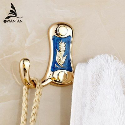Metal Gold Clothes Hook Towel Bag Caddy Hangers Wall Mounted Door Robe Dual Hook ()