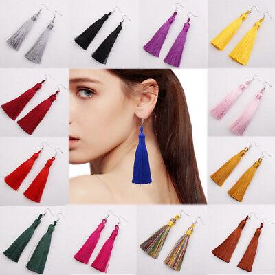 Women Long Silky Tassel Earrings Fringe Boho Ethnic Large Drop Dangle Vintage UK