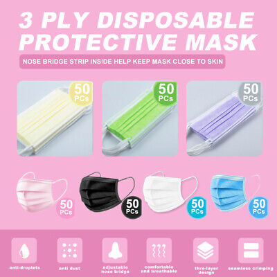 50pcs3-ply Layer Disposable Face Mask Dust Filter Safety Pinkwhiteblueblack