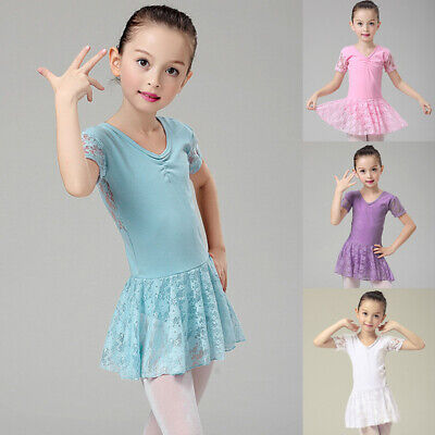 Toddler Girls Short Sleeve Lace Tutu Dress Leotard for Dance/Gymnastics/Ballet - Ballet Dress For Girls