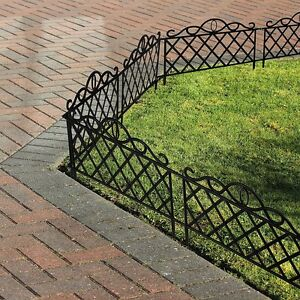 8 x Black Iron Effect Decorative Garden Flower Bed Lawn Edging Fence Panels