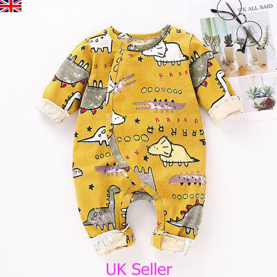 Cute Newborn Baby Boys Girls Dinosaur Romper Bodysuit Jumpsuit Outfits Clothes