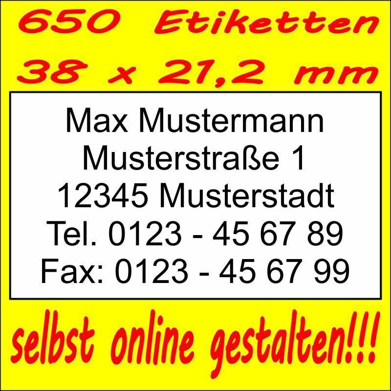 650 Absender Etiketten Adress-Aufkleber Adress-Etikett m. Druck selbst gestalten