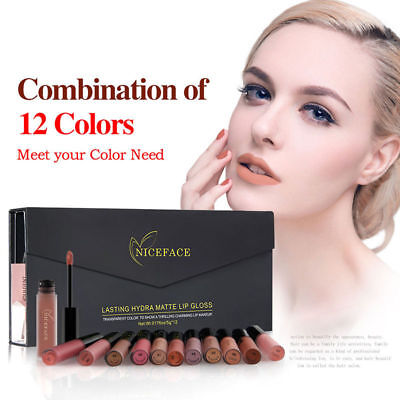 12 Colors Waterproof Long Lasting Lipstick Matte Lip Gloss Makeup Cosmetics GIFT