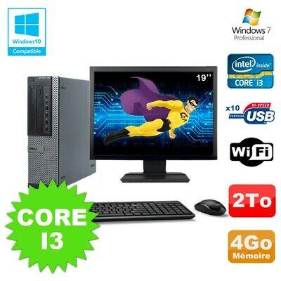 Lot PC Dell 790 DT I3-2120 3.3Ghz 4Go Disque 2000Go DVD WIFI Win 7 + Ecran 19
