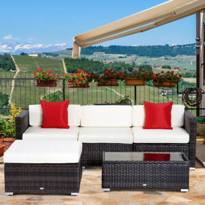 5 pcs Deluxe Rattan Sofa Outdoor Wicker Sectional Patio Furnitur