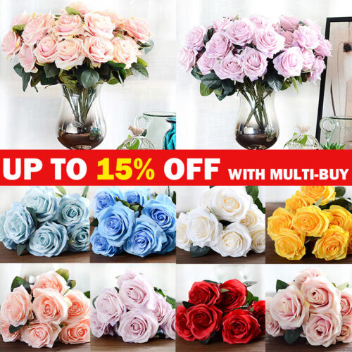 Home Decoration - 10 Heads Artificial Flowers Bouquet Silk Rose Wedding Garden Home Party Decor