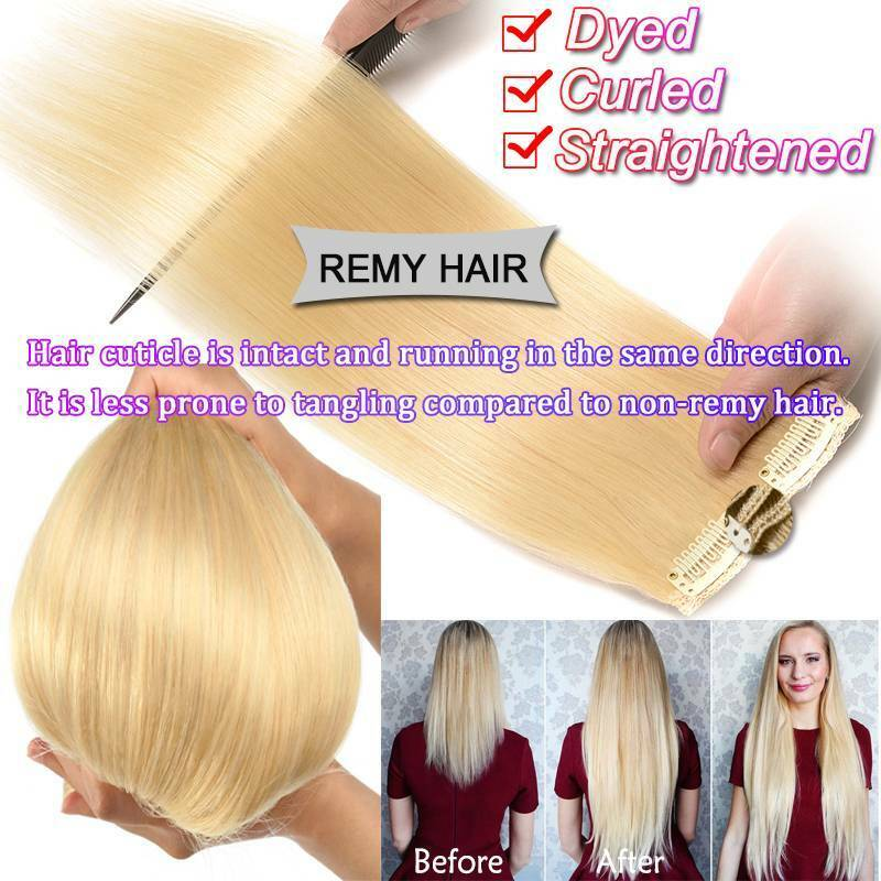 Luxury Clip In 100 Remy Human Hair Extensions Thick Double Weft Full Head 8 PCS - $16.47